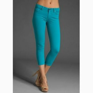 PAIGE Teal Roxie Capri Cropped Jeans